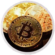 Three Golden Bitcoin Coins On Black Background. Round Beach Towel