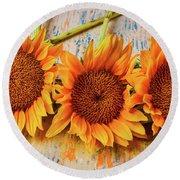 Three Graphic Sunflowers Round Beach Towel