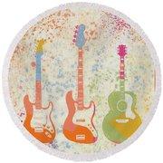 Three Guitars Paint Splatter Round Beach Towel