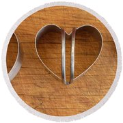 Three Heart Cutters Round Beach Towel