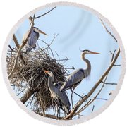 Three Herons Round Beach Towel