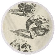 Three Human Skulls Round Beach Towel