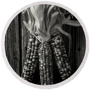 Three Indian Corn In Black And White Round Beach Towel