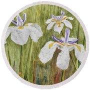 Three Irises In The Rain Round Beach Towel