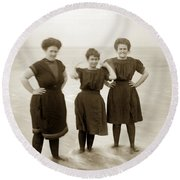 Three Ladies Bathing In Early Bathing Suit On Carmel Beach Early 20th Century. Round Beach Towel