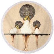 Three Ladies On A Dock  Round Beach Towel