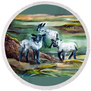 Three Lambs Round Beach Towel