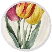 Three Lily Tulips  Round Beach Towel