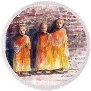 Three Little Monks Round Beach Towel