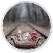 Three Little Teddy Bear Sit In A Sofa In The Middle Of The Winter Forest Round Beach Towel