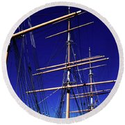 Three Mast Sailing Rig Round Beach Towel
