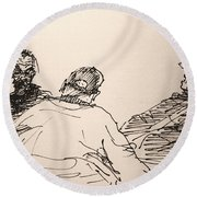 Three Men At Tims Round Beach Towel