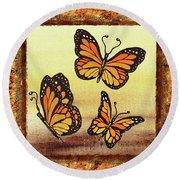 Three Monarch Butterflies Round Beach Towel