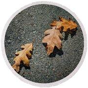 Three Oak Leaves Round Beach Towel