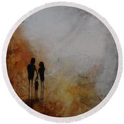 Three Of Us  Round Beach Towel