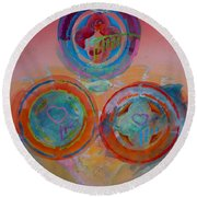 Three On Marine Round Beach Towel