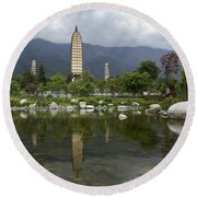 Three Pagodas Of Dali Round Beach Towel