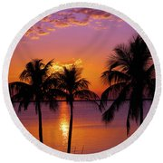 Three Palm Trees At Sunset Round Beach Towel