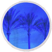 Three Palms And One Flag Round Beach Towel