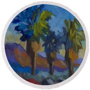 Three Palms At Palm Desert Round Beach Towel