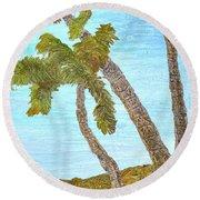 Three Palms At The Beach Round Beach Towel