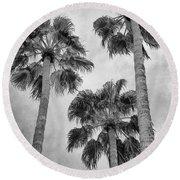 Three Palms Bw Palm Springs Round Beach Towel