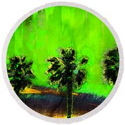 Three Palms IIi Round Beach Towel