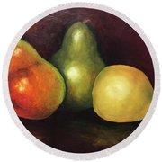 Three Pears  Round Beach Towel