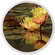 Three Perfect Lilies Round Beach Towel