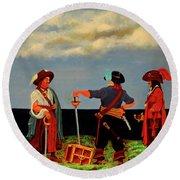 Three Pirates Round Beach Towel