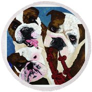 Three Playful Bullies Round Beach Towel