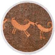 Three Playful Sheep Round Beach Towel