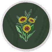 Three Playful Sunflowers Round Beach Towel