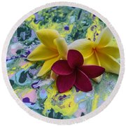 Three Plumeria Flowers Round Beach Towel