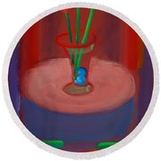 Three Poppies In A Vase Round Beach Towel