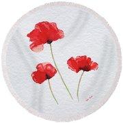 Three Red Poppies Round Beach Towel