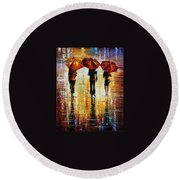 Three Red Umbrellas Round Beach Towel