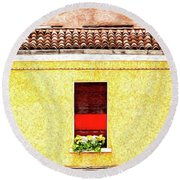 Three Red Windows With Flowers Of A Typically Italian House. Round Beach Towel