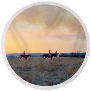 Three Riders In The Kansas Flint Hills Round Beach Towel