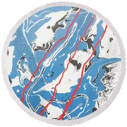Three Roads And Four Islands Round Beach Towel