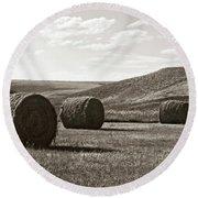 Three Rolls Of Hay Round Beach Towel by Lorraine Devon Wilke