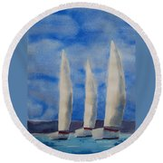 Three Sails Round Beach Towel