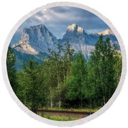 Three Sisters And The Railroad Round Beach Towel