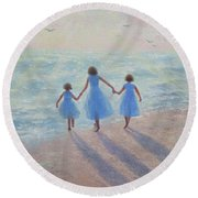 Three Sisters Beach Round Beach Towel