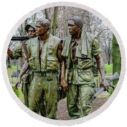 Three Soldiers Memorial Round Beach Towel
