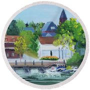 Three Spires Round Beach Towel