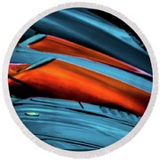 Three Sport Car Hoods Abstract Round Beach Towel