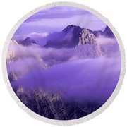 Three Summits. Julian Alps Round Beach Towel