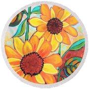 Three Sunflowers Round Beach Towel