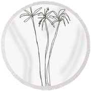 Three Tall Palm Trees- Art By Linda Woods Round Beach Towel
